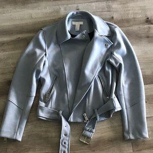 H&M Baby Blue Faux Suede Mori Jacket Sz 6